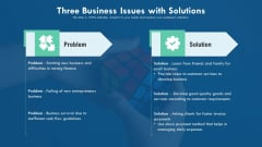 Three Business Issues With Solutions Ppt Infographic Template Icons PDF