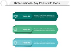 Three Business Key Points With Icons Ppt PowerPoint Presentation Icon Graphics Download