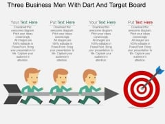 Three Business Men With Dart And Target Board PowerPoint Template