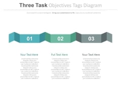 Three Business Steps Curved Tag Powerpoint Slides