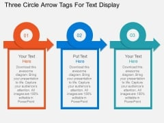 Three Circle Arrow Tags For Text Display Powerpoint Templates