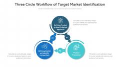 Three Circle Workflow Of Target Market Identification Ppt PowerPoint Presentation File Icons PDF