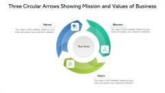 Three Circular Arrows Showing Mission And Values Of Business Ppt PowerPoint Presentation File Portfolio PDF