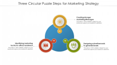 Three Circular Puzzle Steps For Marketing Strategy Mockup PDF
