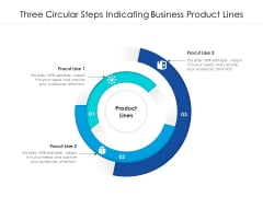 Three Circular Steps Indicating Business Product Lines Ppt PowerPoint Presentation File Shapes PDF