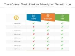 Three Column Chart Of Various Subscription Plan With Icon Ppt PowerPoint Presentation Portfolio Display PDF