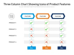 Three Column Chart Showing Icons Of Product Features Ppt PowerPoint Presentation Infographics Show PDF