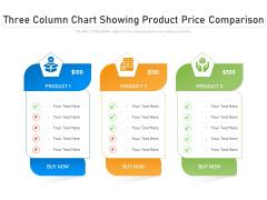 Three Column Chart Showing Product Price Comparison Ppt PowerPoint Presentation Ideas Deck PDF