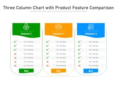 Three Column Chart With Product Feature Comparison Ppt PowerPoint Presentation Gallery Layouts PDF