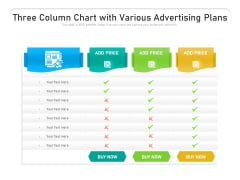 Three Column Chart With Various Advertising Plans Ppt PowerPoint Presentation Show PDF