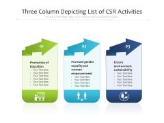 Three Column Depicting List Of CSR Activities Ppt PowerPoint Presentation Gallery Rules PDF