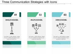 Three Communication Strategies With Icons Ppt PowerPoint Presentation Ideas Deck