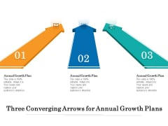 Three Converging Arrows For Annual Growth Plans Ppt PowerPoint Presentation Ideas Example PDF