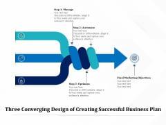 Three Converging Design Of Creating Successful Business Plan Ppt PowerPoint Presentation Portfolio Graphic Images PDF