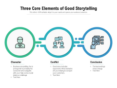 Three Core Elements Of Good Storytelling Ppt PowerPoint Presentation Example 2015