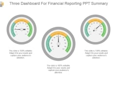 Three Dashboard For Financial Reporting Ppt Summary