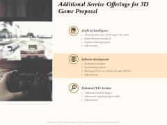 Three Dimensional Games Proposal Additional Service Offerings For 3D Game Proposal Elements PDF