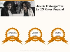 Three Dimensional Games Proposal Awards And Recognition For 3D Game Proposal Ideas PDF
