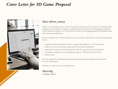 Three Dimensional Games Proposal Cover Letter For 3D Game Proposal Icons PDF