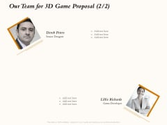 Three Dimensional Games Proposal Our Team For 3D Game Proposal Ppt Infographic Template Introduction PDF