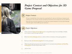 Three Dimensional Games Proposal Project Context And Objectives For 3D Game Proposal Summary PDF