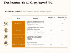 Three Dimensional Games Proposal Your Investment For 3D Game Proposal Cost Ppt Inspiration Themes PDF