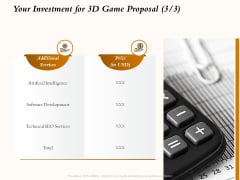 Three Dimensional Games Proposal Your Investment For 3D Game Proposal Ppt Professional Background Designs PDF