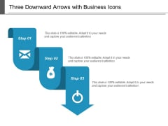Three Downward Arrows With Business Icons Ppt PowerPoint Presentation Outline Slide Portrait