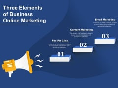 Three Elements Of Business Online Marketing Ppt PowerPoint Presentation Infographics Graphic Images PDF