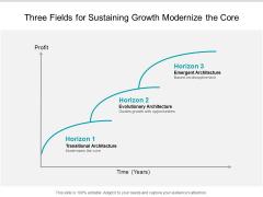 Three Fields For Sustaining Growth Modernize The Core Ppt Powerpoint Presentation Portfolio Background Designs