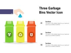 Three Garbage Bins Vector Icon Ppt PowerPoint Presentation Slides Display PDF
