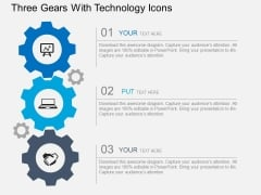 Three Gears With Technology Icons Powerpoint Templates