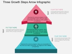 Three Growth Steps Arrow Infographic Powerpoint Template