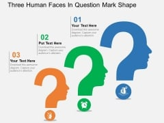 Three Human Faces In Question Mark Shape Powerpoint Templates