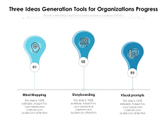 Three Ideas Generation Tools For Organizations Progress Ppt PowerPoint Presentation Summary Guidelines PDF