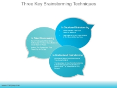 Three Key Brainstorming Techniques Ppt PowerPoint Presentation Sample