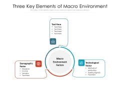 Three Key Elements Of Macro Environment Ppt PowerPoint Presentation Gallery Graphic Images PDF