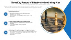 Three Key Factors Of Effective Online Selling Plan Ppt Styles Vector PDF