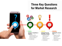 Three Key Questions For Market Research Ppt PowerPoint Presentation Model Maker PDF