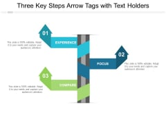 Three Key Steps Arrow Tags With Text Holders Ppt PowerPoint Presentation Model Graphics Pictures