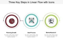 Three Key Steps In Linear Flow With Icons Ppt PowerPoint Presentation Layouts Elements