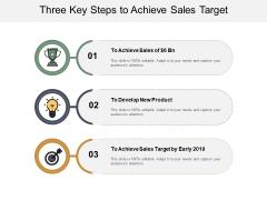 Three Key Steps To Achieve Sales Target Ppt PowerPoint Presentation Ideas Format