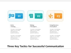 Three Key Tactics For Successful Communication Ppt PowerPoint Presentation Gallery Infographics PDF