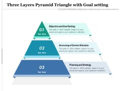 Three Layers Pyramid Triangle With Goal Setting Ppt PowerPoint Presentation Infographic Template Guide PDF