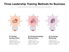 Three Leadership Training Methods For Business Ppt PowerPoint Presentation Portfolio Icon PDF