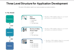 Three Level Structure For Application Development Ppt PowerPoint Presentation Gallery Elements PDF