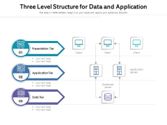 Three Level Structure For Data And Application Ppt PowerPoint Presentation File Background PDF