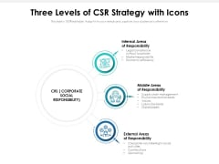 Three Levels Of CSR Strategy With Icons Ppt PowerPoint Presentation File Styles PDF