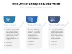 Three Levels Of Employee Induction Process Ppt PowerPoint Presentation Gallery Microsoft PDF