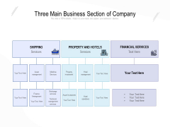 Three Main Business Section Of Company Ppt PowerPoint Presentation File Example File PDF